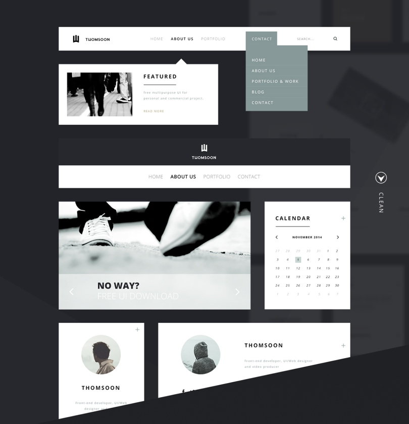 55+ Elementos – Un magnífico kit de interfaz de usuario gratuito por Tomasz Mazurczak