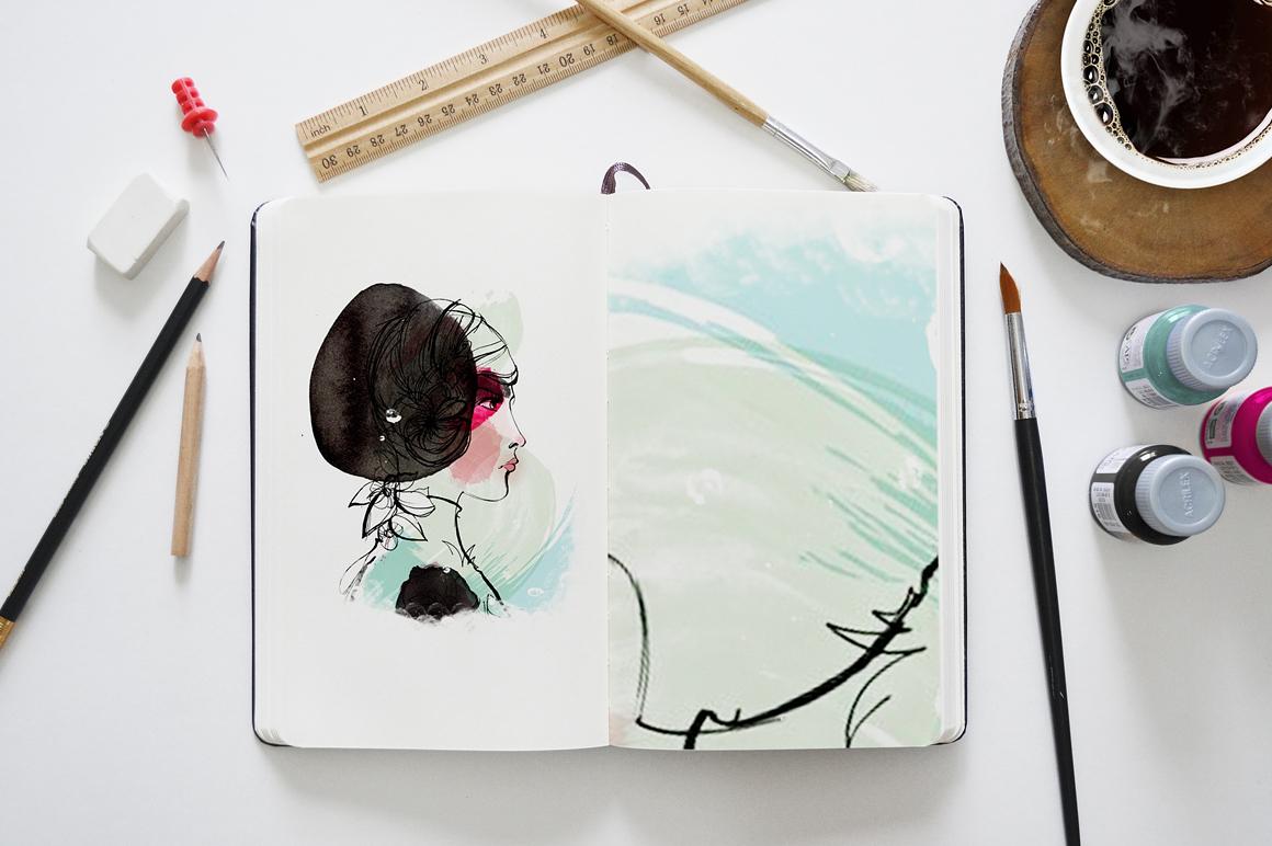 Una maqueta realista de un cuaderno de bocetos para mostrar sus dibujos