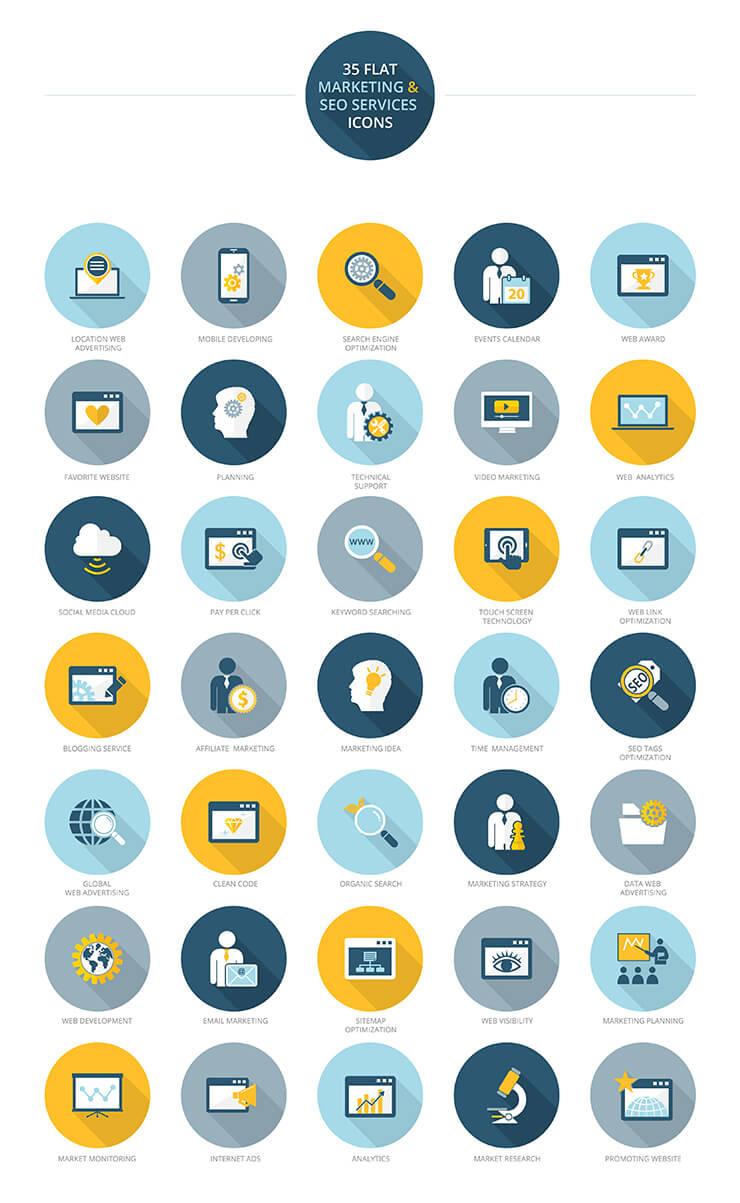 Iconos gratis: 35 Iconos útiles de marketing y servicios de SEO