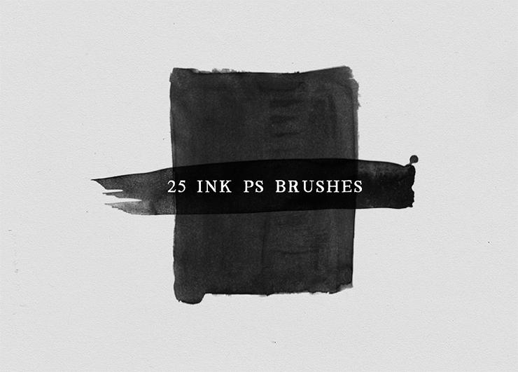 25 Pinceles para acuarela y tinta Photoshop No.3