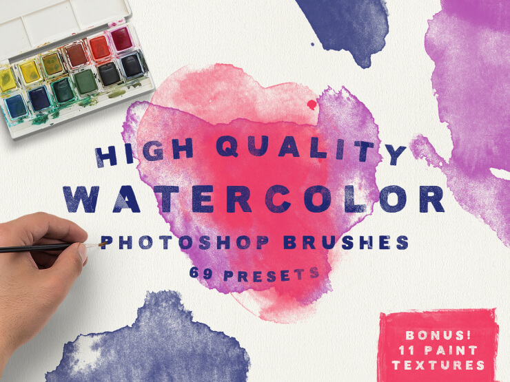 69 Pinceles para acuarela Photoshop + Bonus 11 Texturas