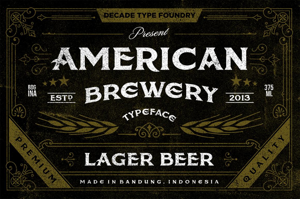Fuente Rugosa de la Cervecería Americana Inspirada en Etiquetas de Cerveza Vintage