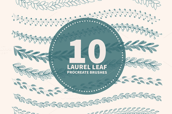 10 Laurel Leaf Procreate pinceles