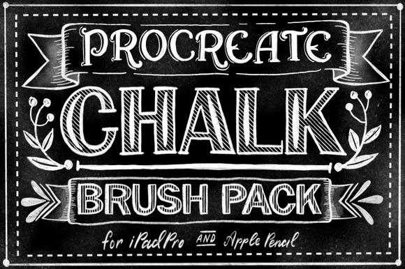 Procreate tiza paquete de pincel letras