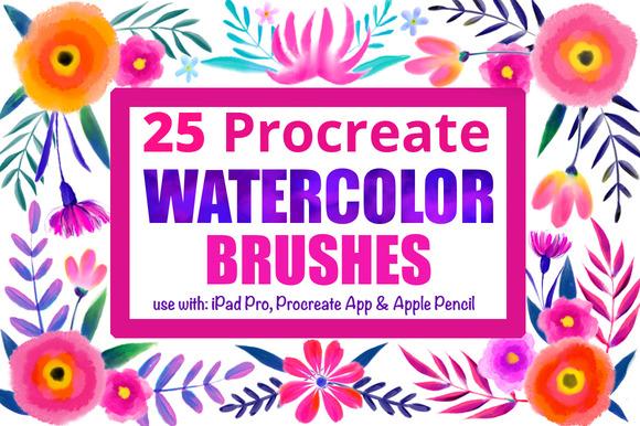 25 Procreate acuarela pinceles